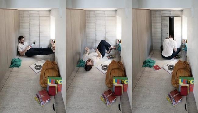 Леглото в допълнителното помещение е скрито под капак. Кътчето може да се използва и просто за отдих