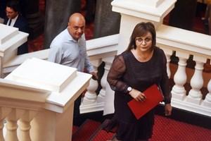 Корнелия Нинова влиза на консултациите.