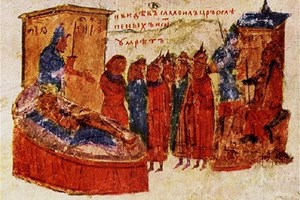 Миниатюра от Манасиевата хроника, която показва как царят не може да понесе ослепяването на своите войници и умира. Сн. Архив 24 часа