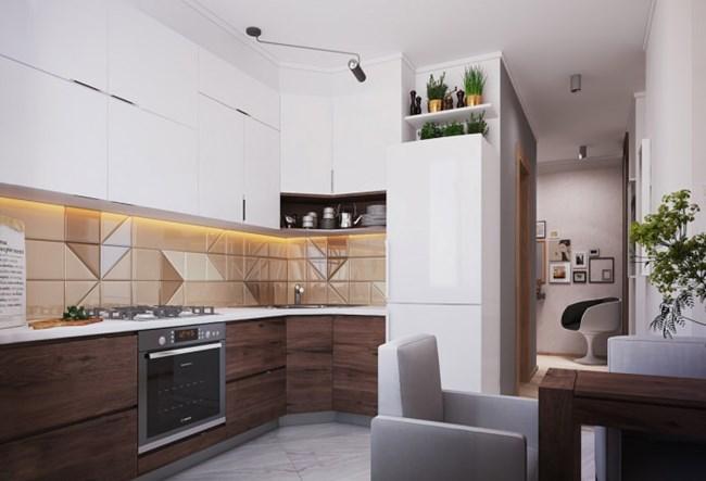 Гърбът на кухнята е като част от стена в дневната