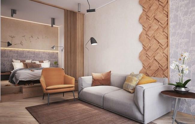 Спалнята се изолира с красива плъзгаща се врата с дървени летви