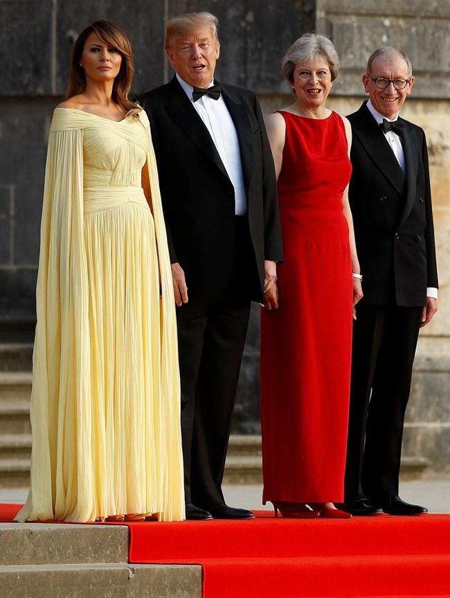 Мелания и Доналд Тръмп бяха приети от Тереза Мей в двореца Бленъм през 2018 г.